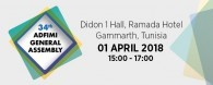 The 34th ADFIMI GENERAL ASSEMBLY (GA) will take place at Didon 1 Hall, Ramada Hotel,Gammarth in Tunisia on 01 April 2018 at 14:00 - 16:00